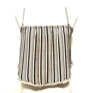 O'Neill Striped Crochet Trim Crop Top Bandeau